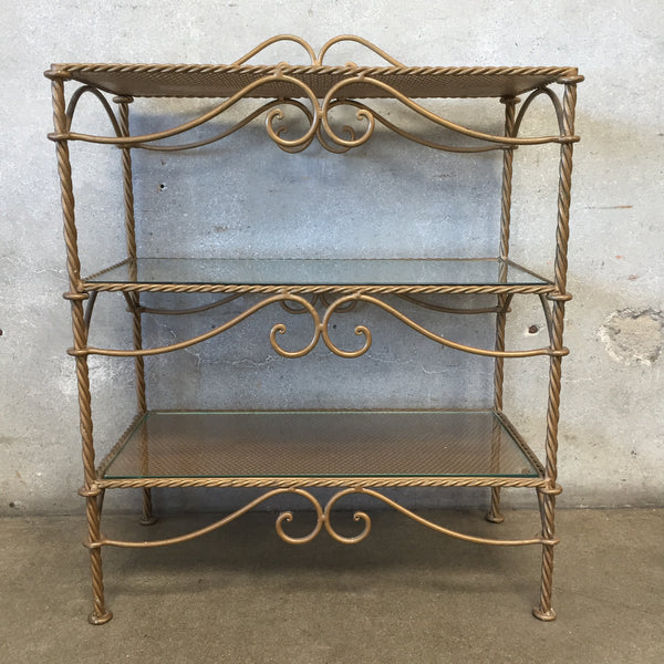 Three Tier Iron Shelf With Rope Detail & Glass Inserts