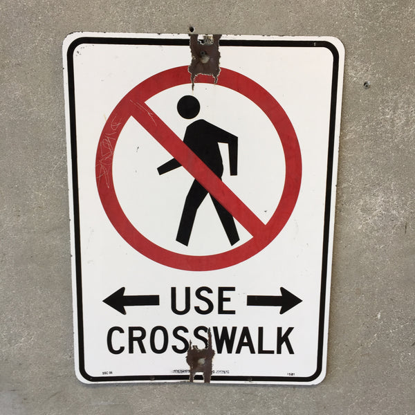 Vintage Enameled Crosswalk Sign