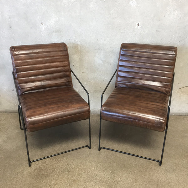 Pair of Leather & Iron Chairs