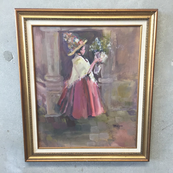 Vintage Little Girl with Straw Hat Painting