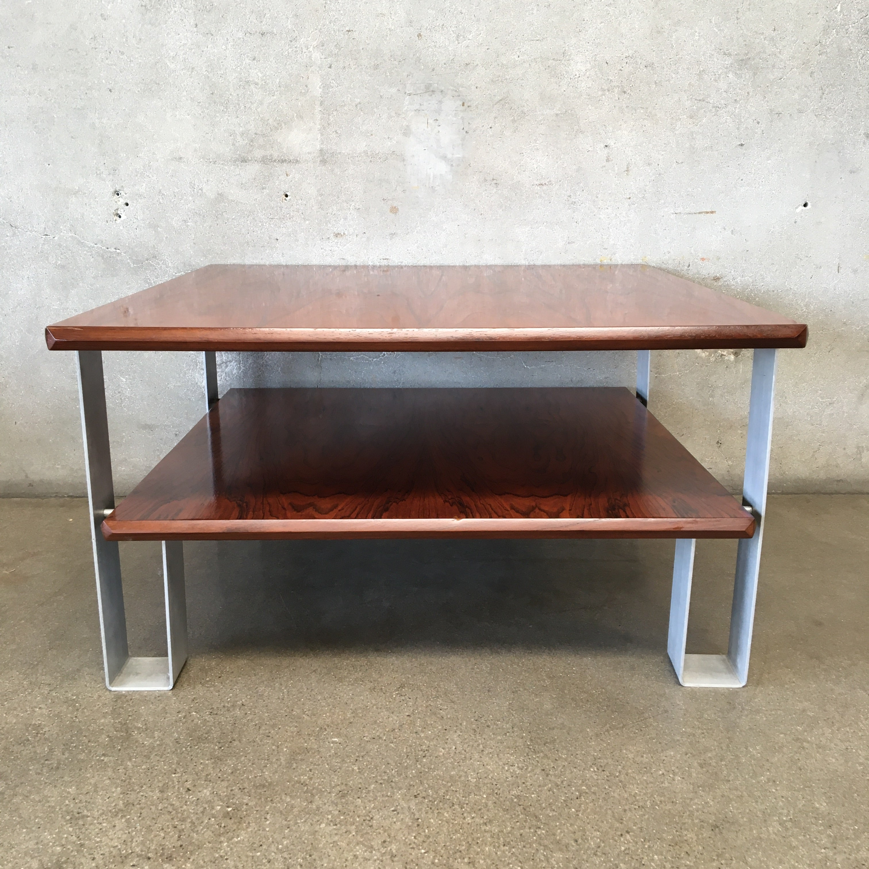 Picture of: Mid Century Square Coffee Table With Lower Shelf