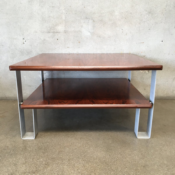 Mid Century Square Coffee Table with Lower Shelf