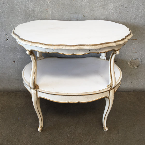 Vintage White With Gold Roccoco Side Table