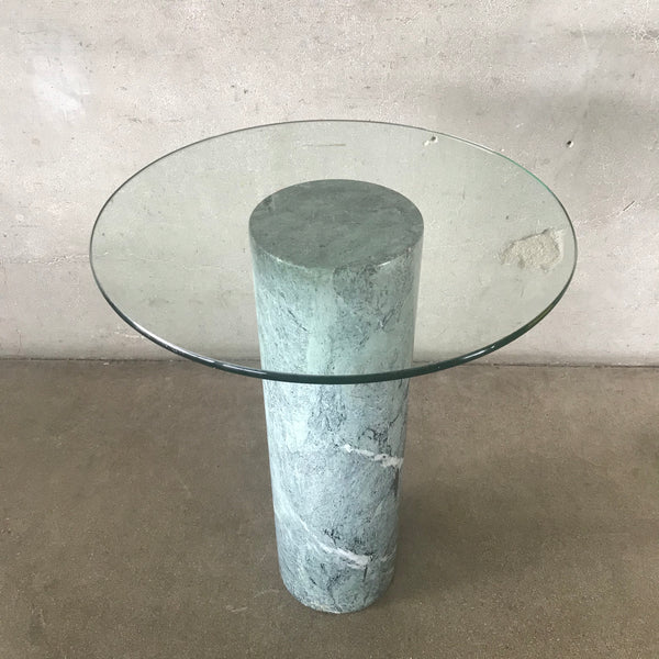1980's Drum / Marble Base Side Table - Reserved