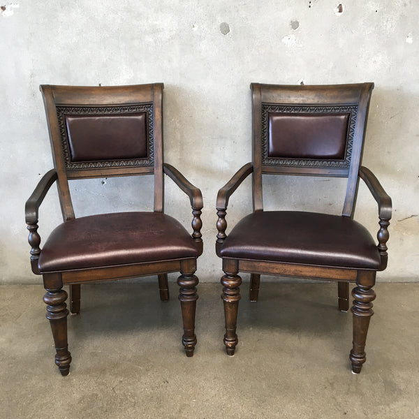 Two Wood Chairs With Dark Vinyl Upholstery Vintage Style