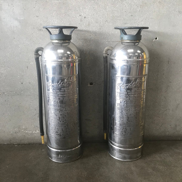 Pair of Antique Chrome Fire Extinguishers by Randolph