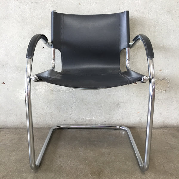 Vintage Mid Century Leather & Chrome Chair