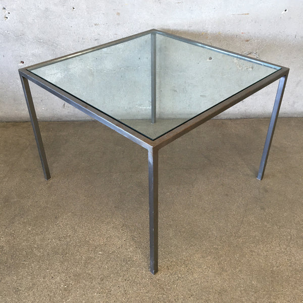 Mid Century Glass & Metal Side Table