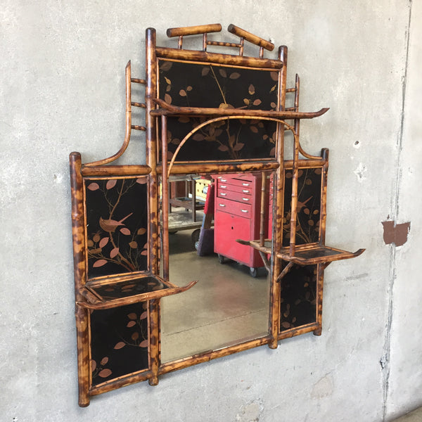 Antique Asian Decorative Bamboo Mirror