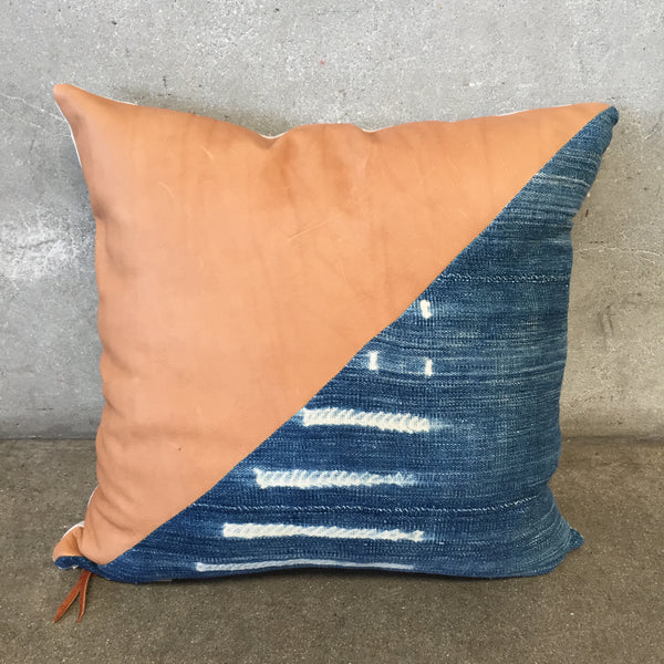 Indigo Mud Cloth with Leather Pillow