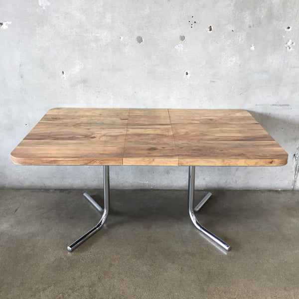 Vintage Mid Century Chrome & Laminate Top Dining Table