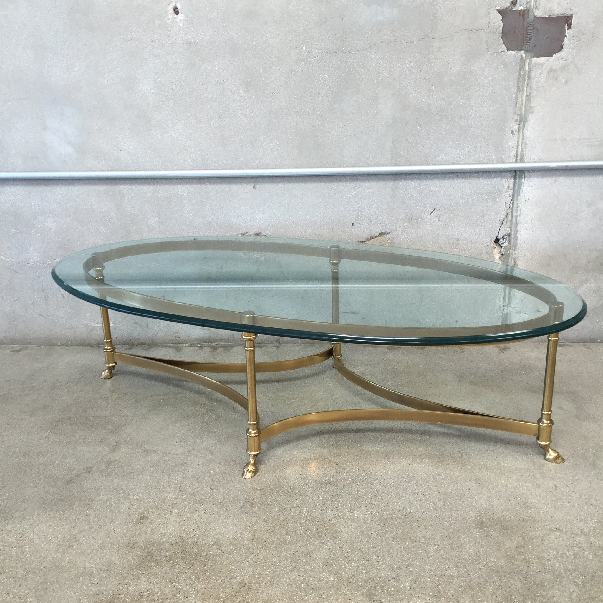 Mid Century Labarge Goat footed Brass and Glass Coffee Table