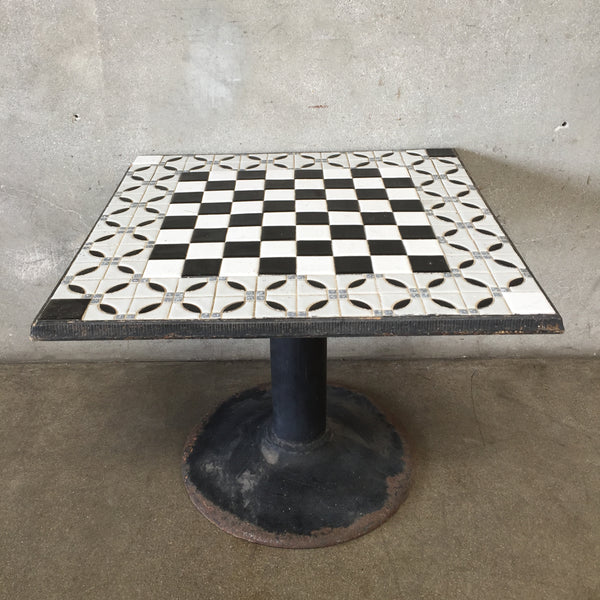 Vintage Tile Top Table with Metal Base