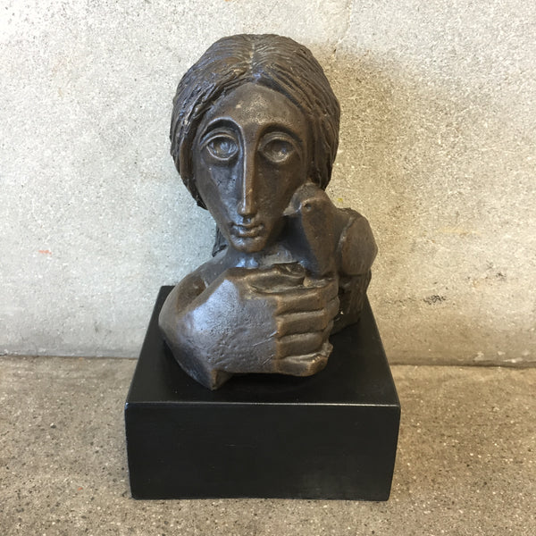 "Mid Century Bronze ""Woman & Dove"" by Alvar Suñol"