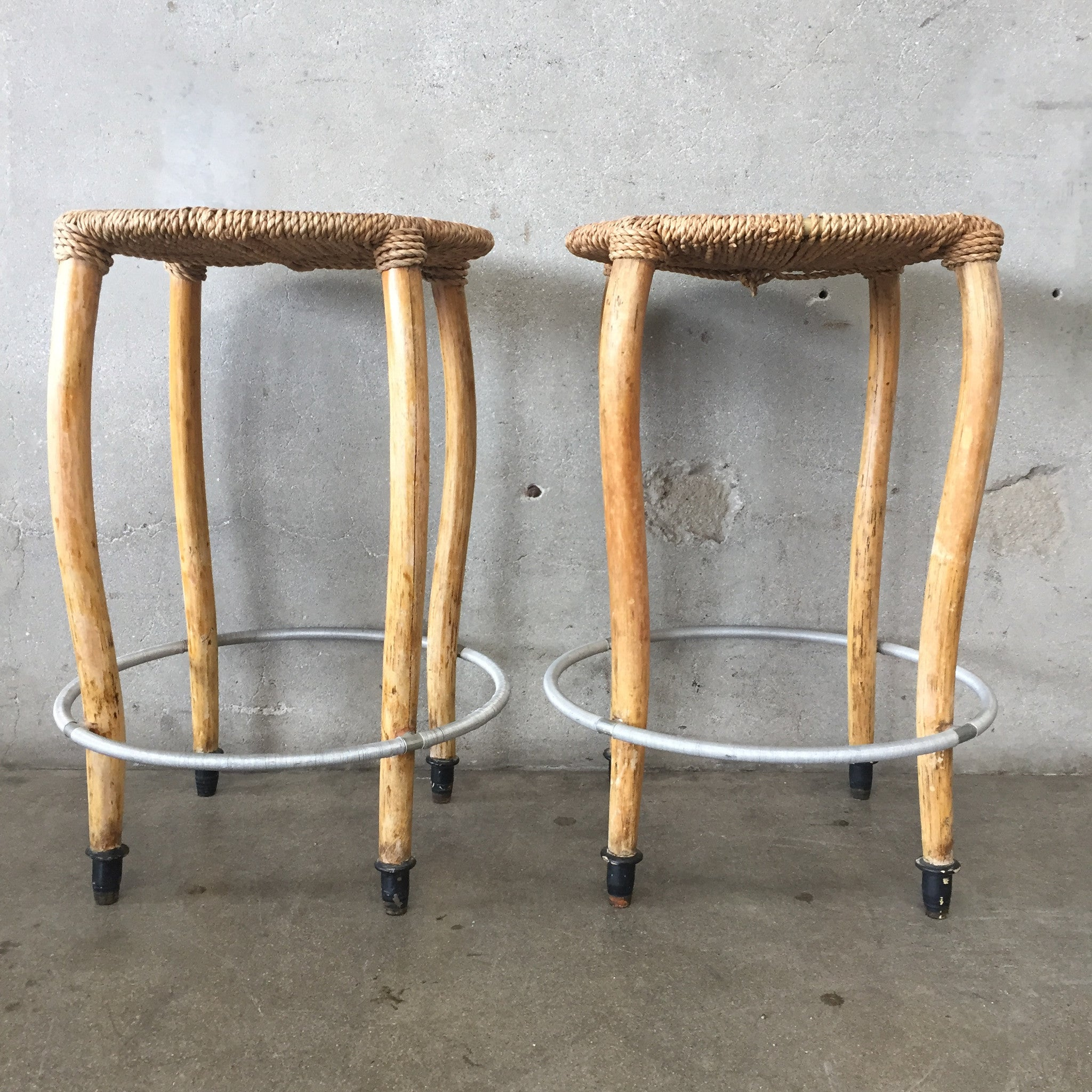 Pair of Wood & Rush Seat Bar Stools – UrbanAmericana