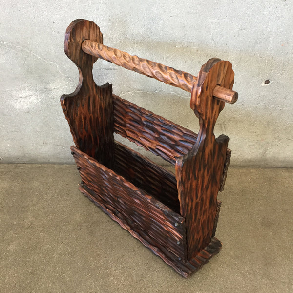 Rustic Nail Head Magazine Rack
