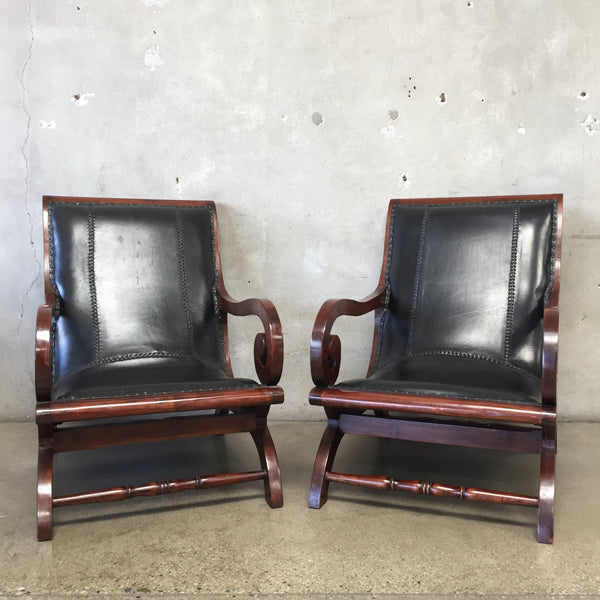 Pair of Leather Indonesian Lounge Chairs
