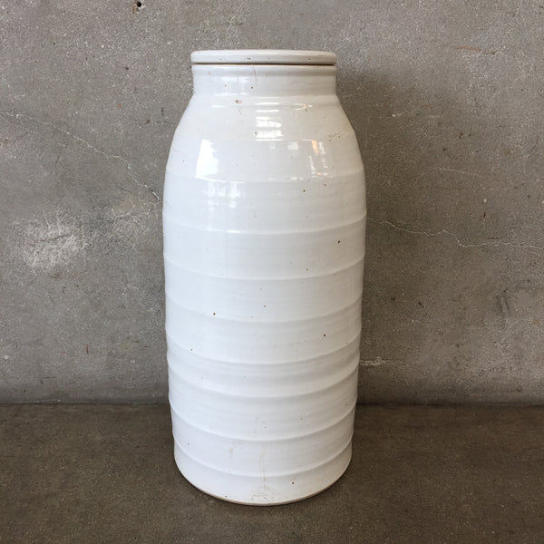 Tall White Ceramic Vase with Lid