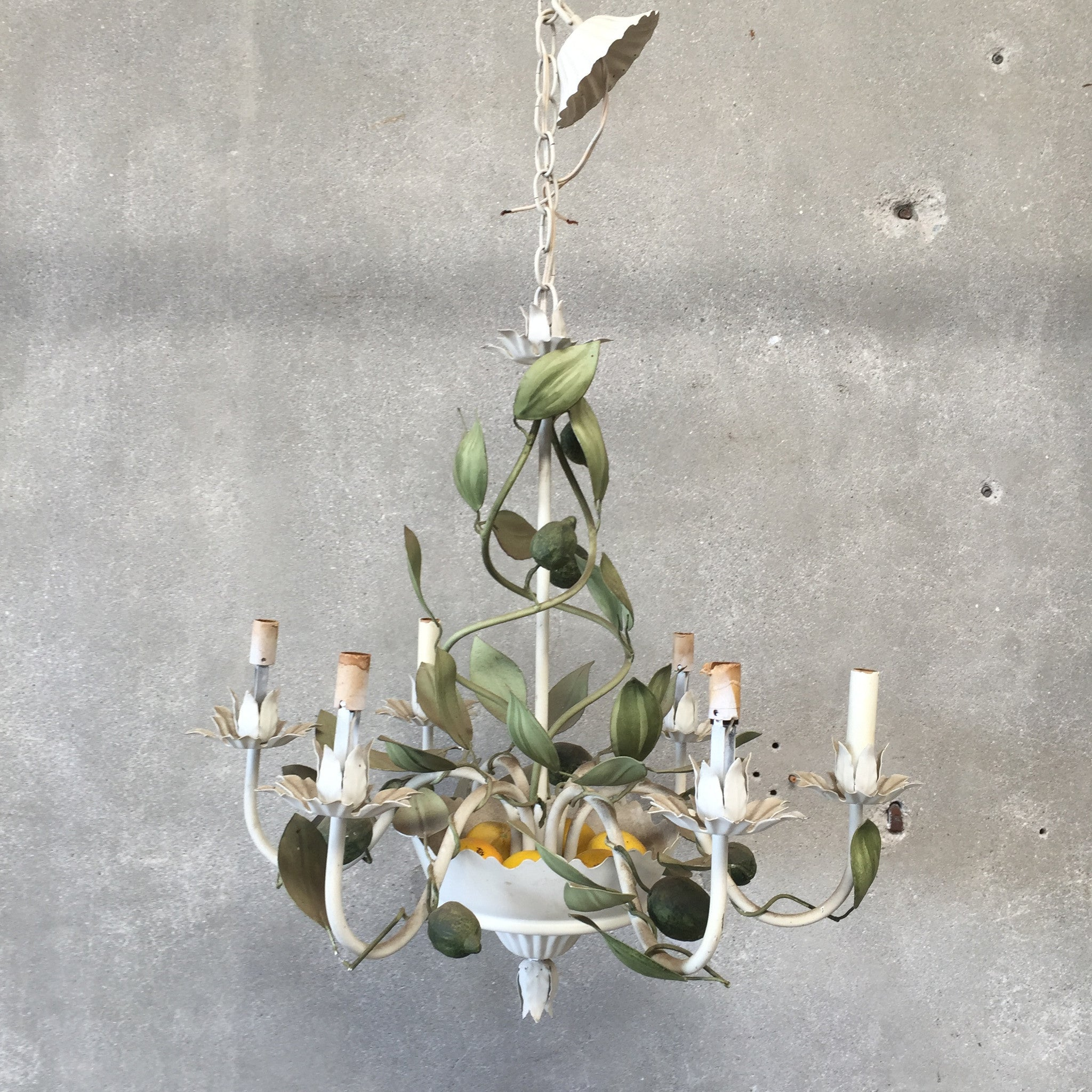 Italian Tole Chandelier With Limes