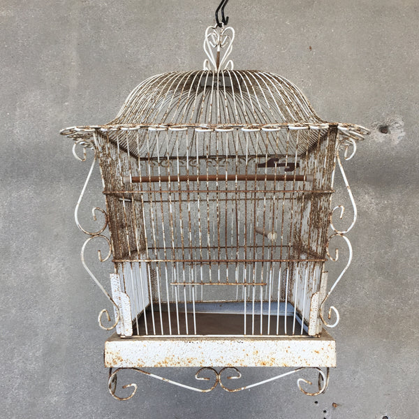 White Shabby Chic Bird Cage
