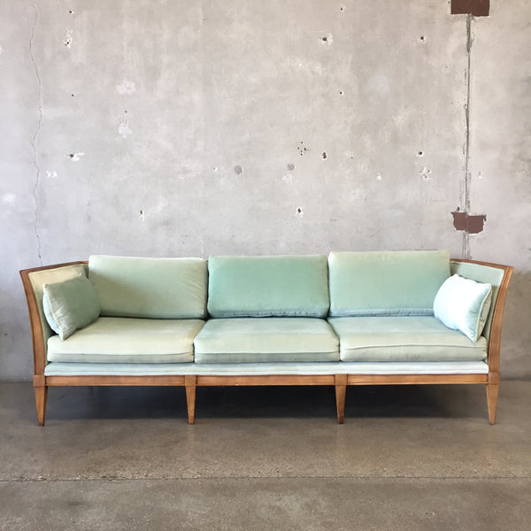 Vintage Mid Century Mint Green Sofa Solid Wood Frame