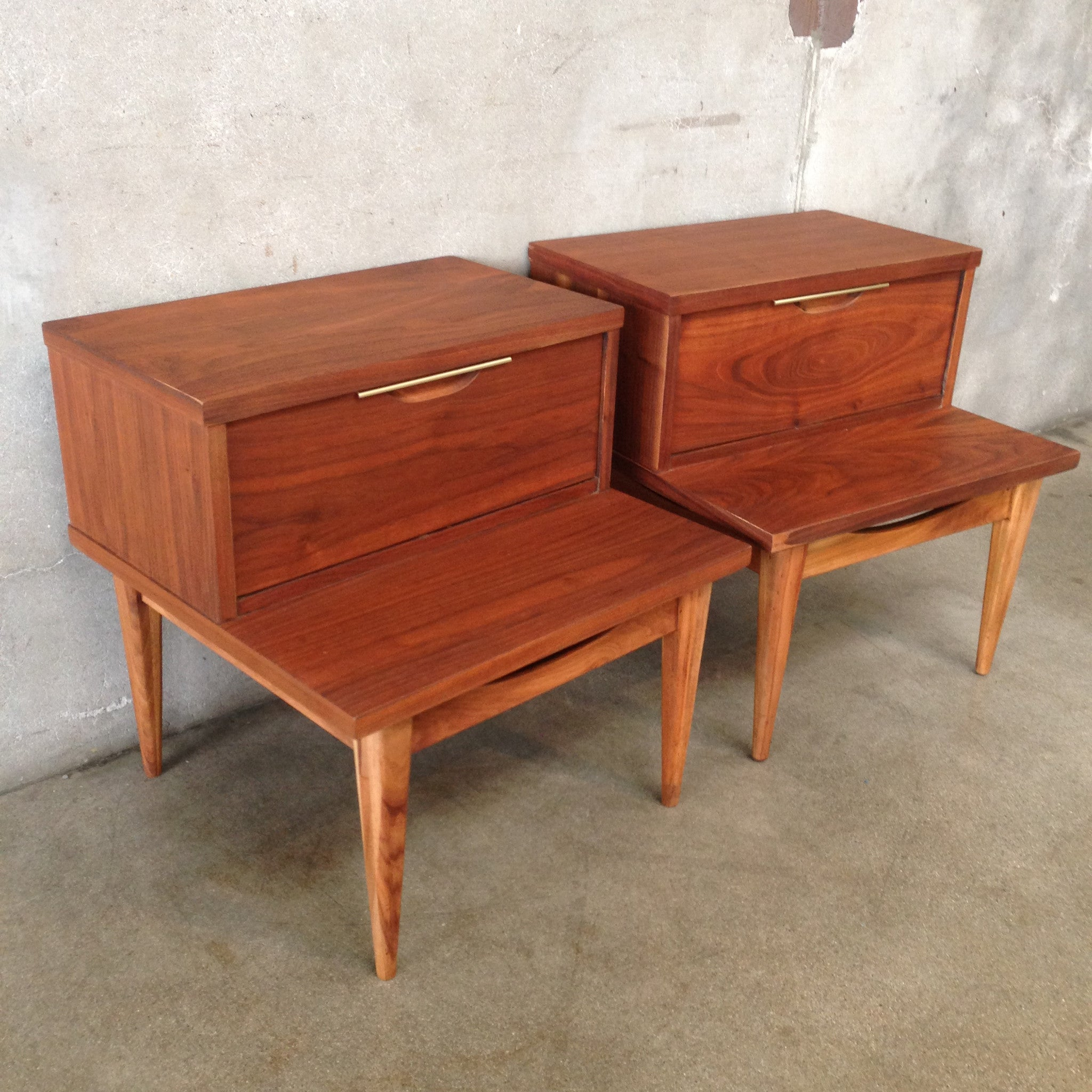 pair of mid century end tables by kent coffey
