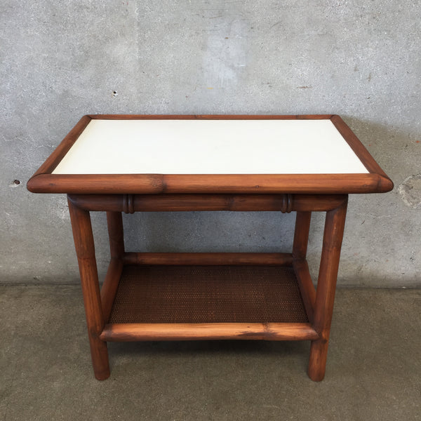 Vintage Bamboo & Laminate End Table