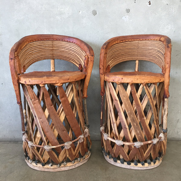 Rustic Mexican Equipale Bar Stools