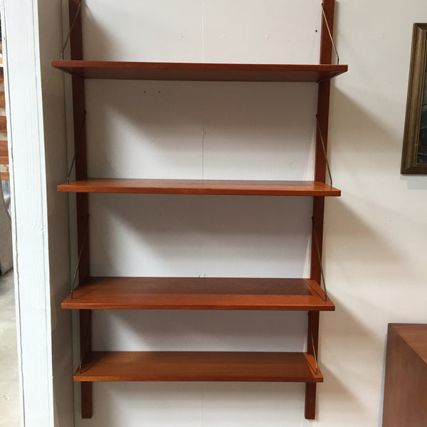 Danish Modern Teak & Brass Shelving by Bruksbo of Norway