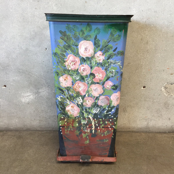 1950's Flower Painted Trash Can