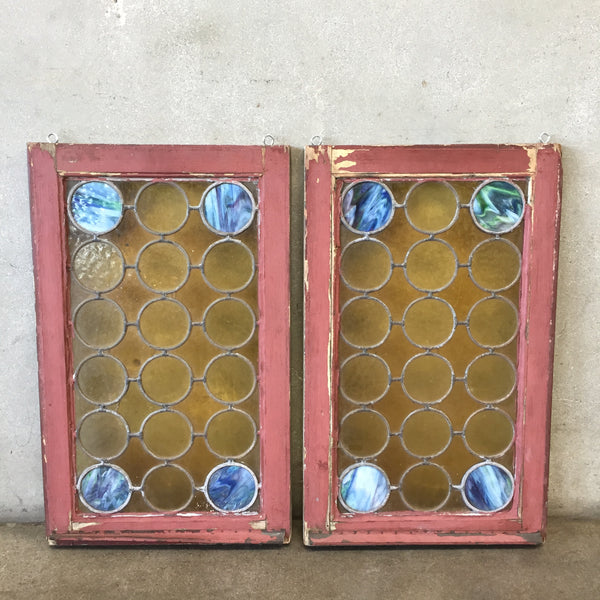 Pair of Vintage Stained Glass Windows