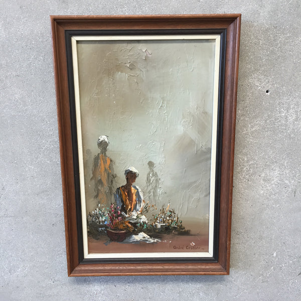 Vintage Framed Painting of African Women