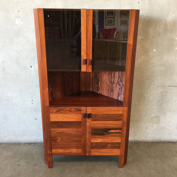 1970's Rosewood Corner Cabinet with Smoke Glass Doors
