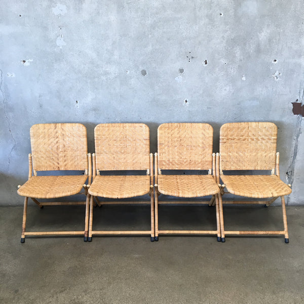 Vintage Iron And Rattan Folding Chairs