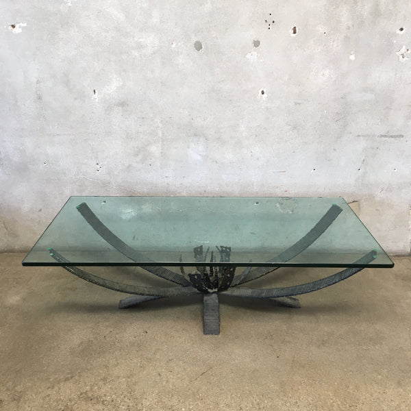 Brutalist Torch Cut Iron Glass Top Coffee Table