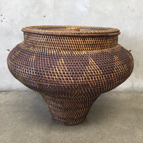 Rattan Cobra Basket with Triangle Pattern