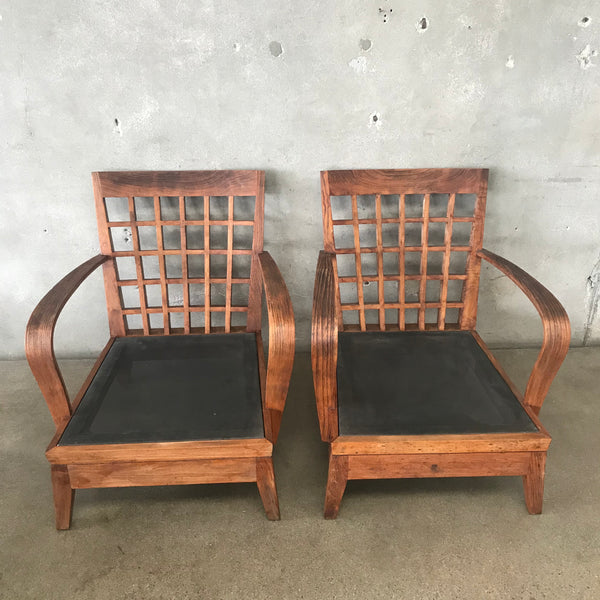 Teak Wood Patio Chairs (pair)