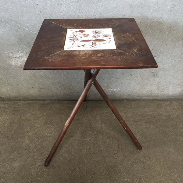 Mid Century Tile Side Table With Snap on Legs