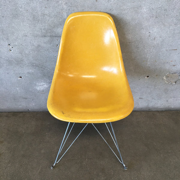 Yellow Herman Miller Fiberglass Chair with Eiffel Legs