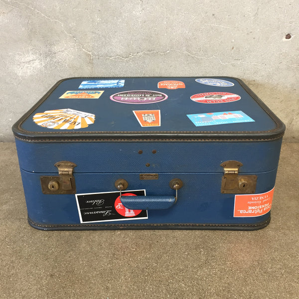 Vintage Blue Hotel Label Luggage