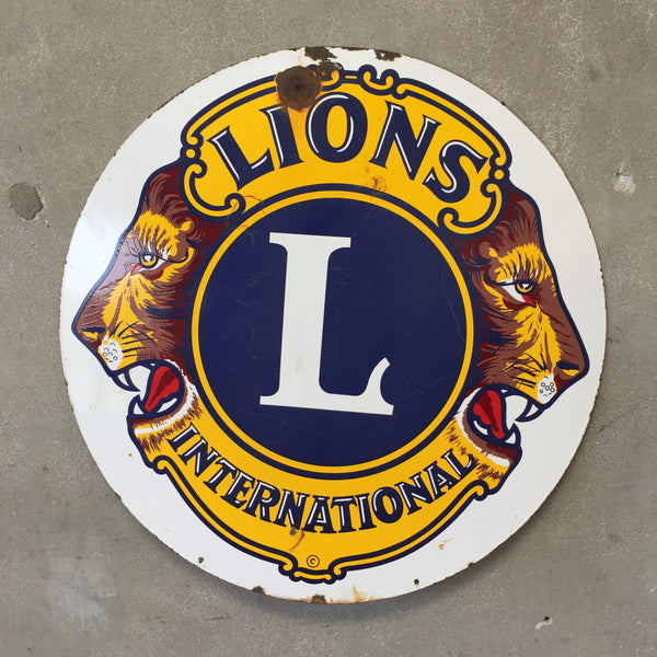 Lions International Club Porcelain Sign