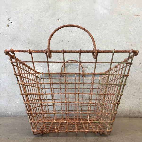 Vintage Industrial Iron Basket