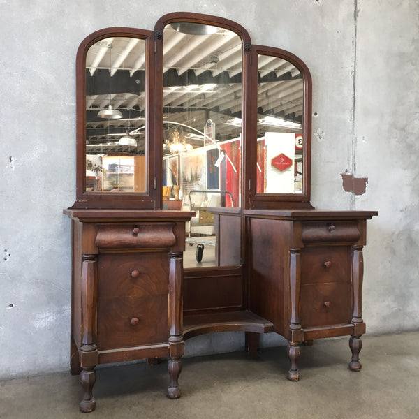 1920's Wood Three View Vanity