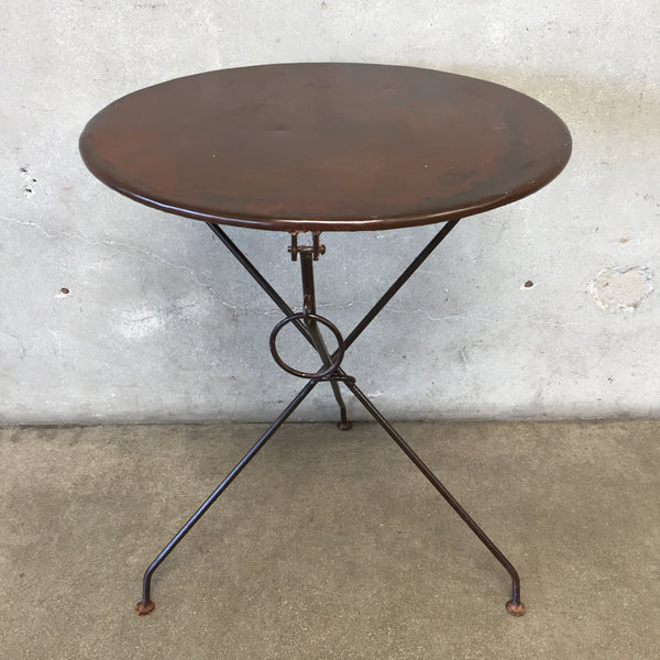 Vintage Round Metal Folding Table