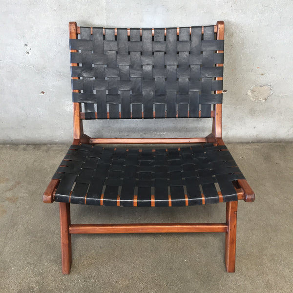 Mid Century Black Leather Sling Style Chair