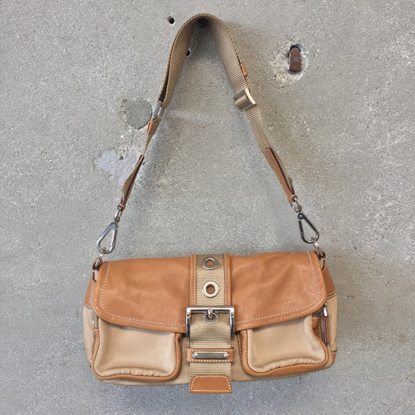 Vintage Prada Beige Leather & Nylon Purse