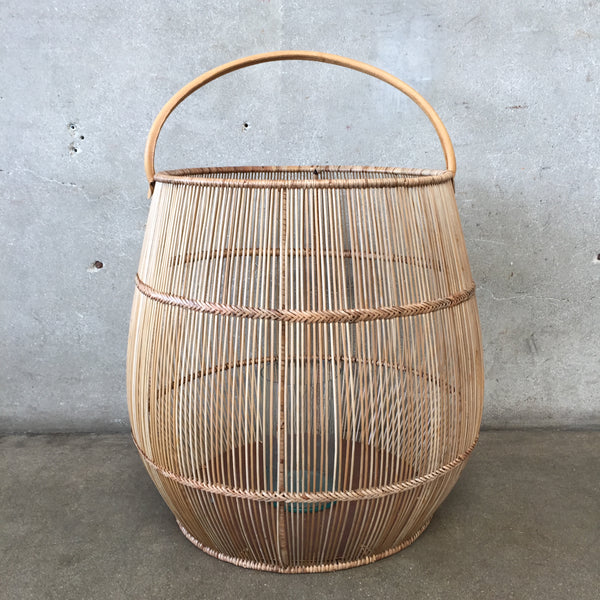 Large Indonesian Rattan Lantern with Leather Handle