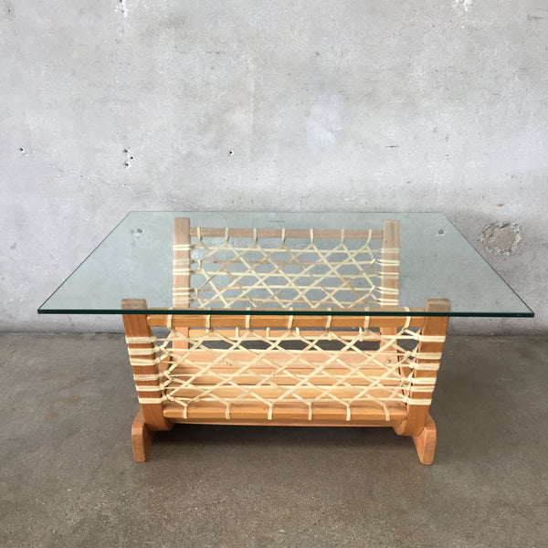 Vintage Bentwood Plywood & Leather Glass Top Coffee Table