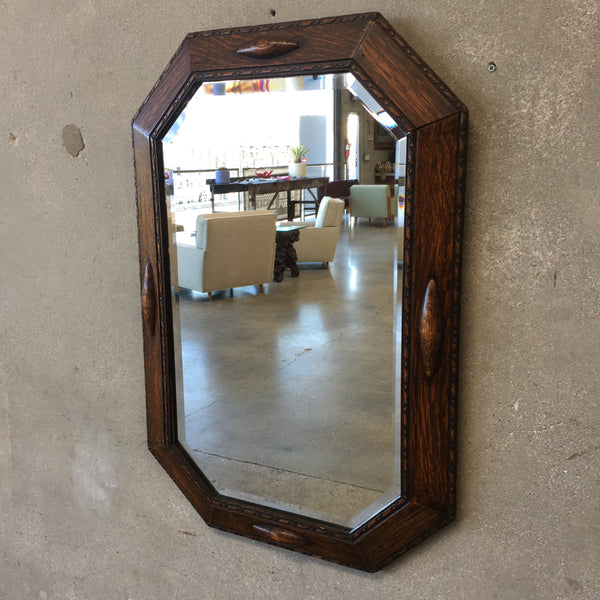 Antique Tiger Oak Wall Mirror