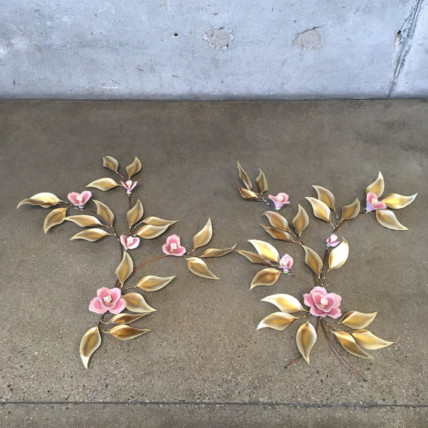 Rare Mid Century Copper & Ceramic Flower Wall Sculptures
